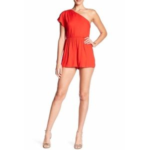 Alice and Olivia Draped One Shoulder Romper.